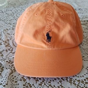 Polo Embroidered Hat in Light Orange w/ Navy Polo